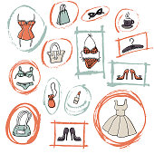 Set of hand-drawn elements of women's accessoiries