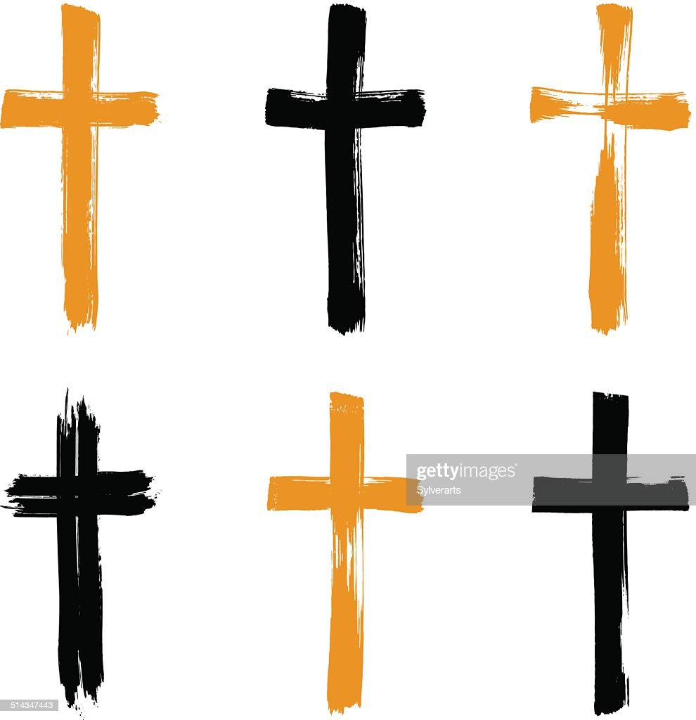 Set of hand-drawn grunge cross icons, collection
