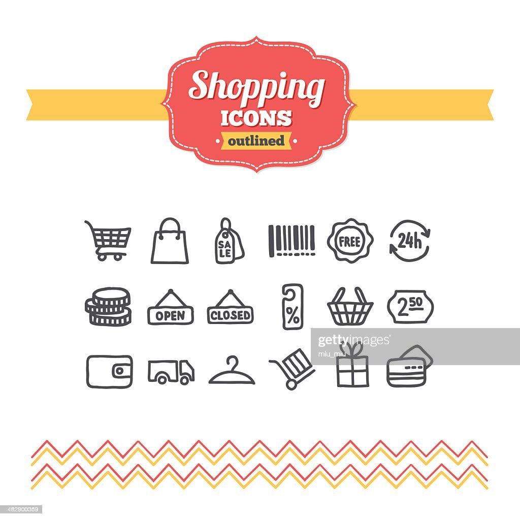 Set of hand-drawn shopping icons