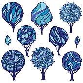 Set of hand-drawn stylized trees