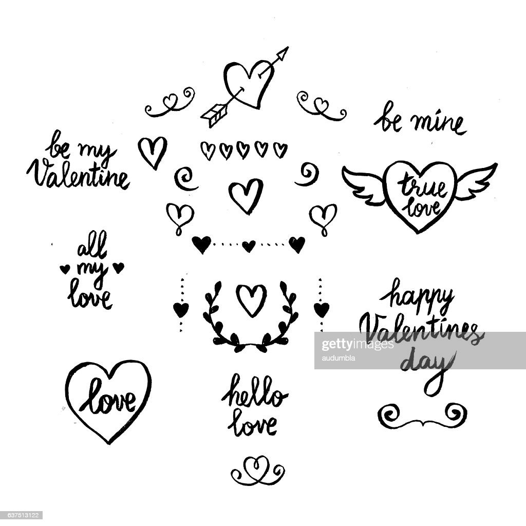 Set of hand-drawn Valentines Day icons and phrases
