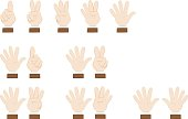 Set of hands gesturing and showing numbers