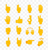 Set of Hands on Transparent Background . Isolated Vector Illustration