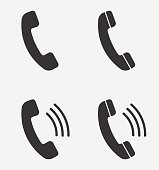 Set of handset icon isolated on background. Vector illustration.