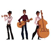 Set of handsome African male trumpet, guitar and contrabass players