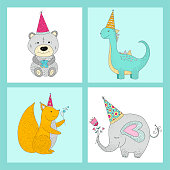 Set of handwritten cards with cute vector illustrations.