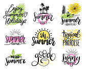 Set of handwritten inspirational summer phrases. Vector fun quotes illustrations. Calligraphy collection.