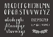 Set of handwritten latin letters. Vector script font. White alphabet isolated on black background.