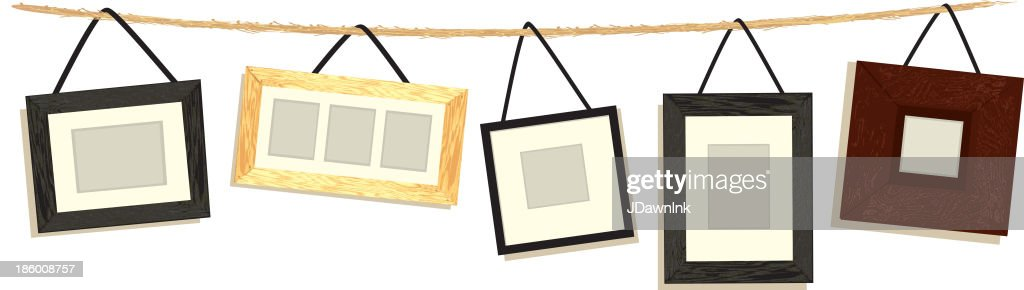 Set Of Hanging Picture Frames On Rope White Background Vector Art ...