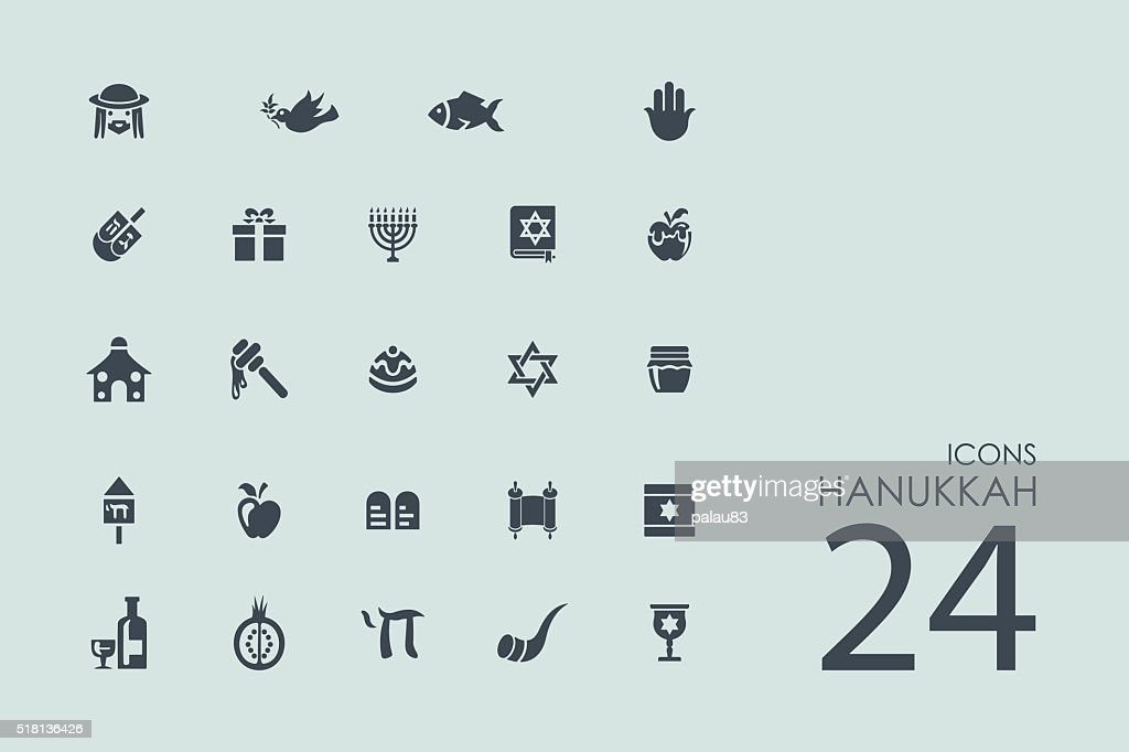 Set of Hanukkah icons