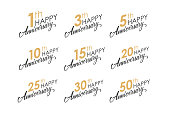 Set of Happy Anniversary greeting templates with numbers and hand lettering.