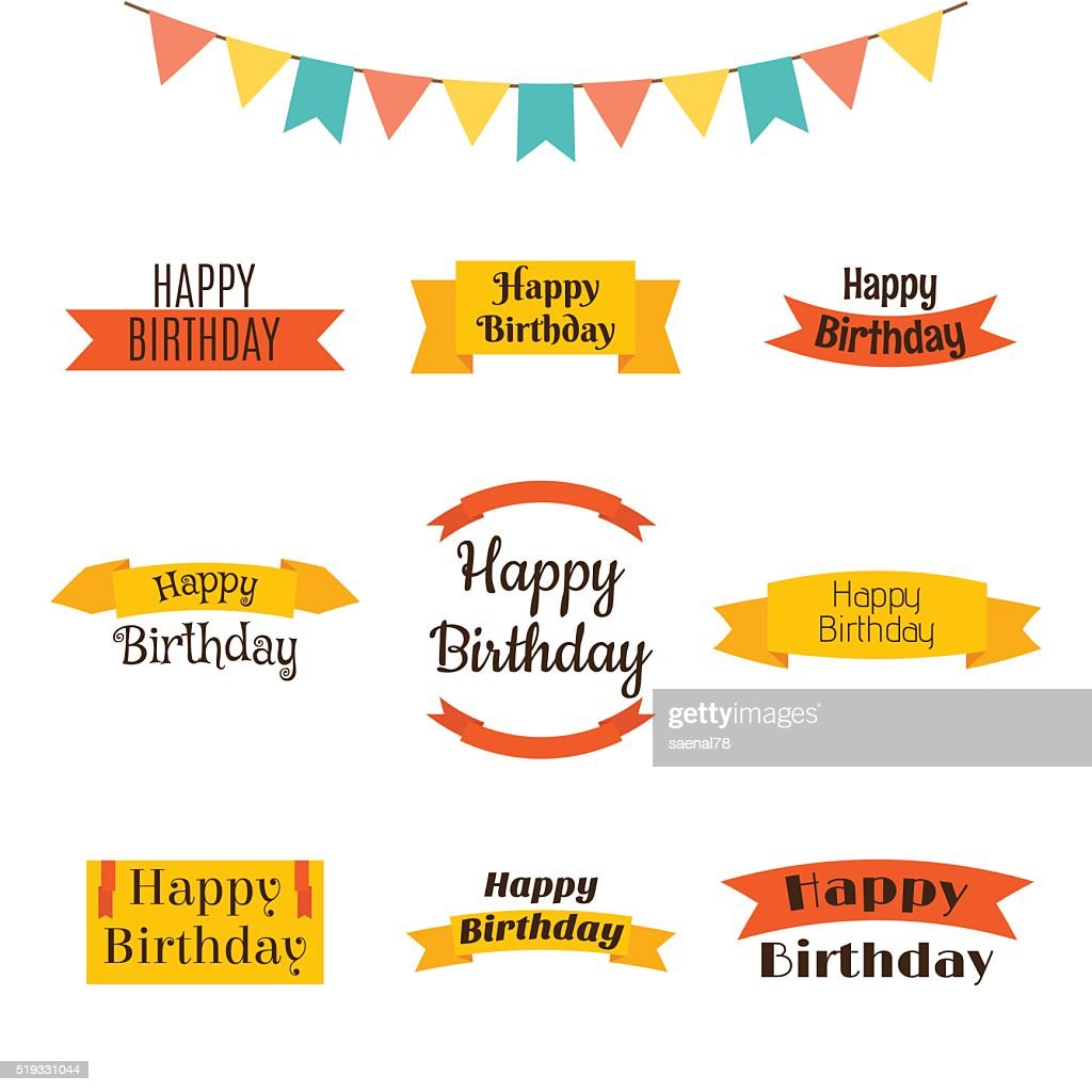Set of Happy Birthday greeting cards. Birthday theme labels