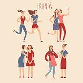 Set of happy cartoon female friends