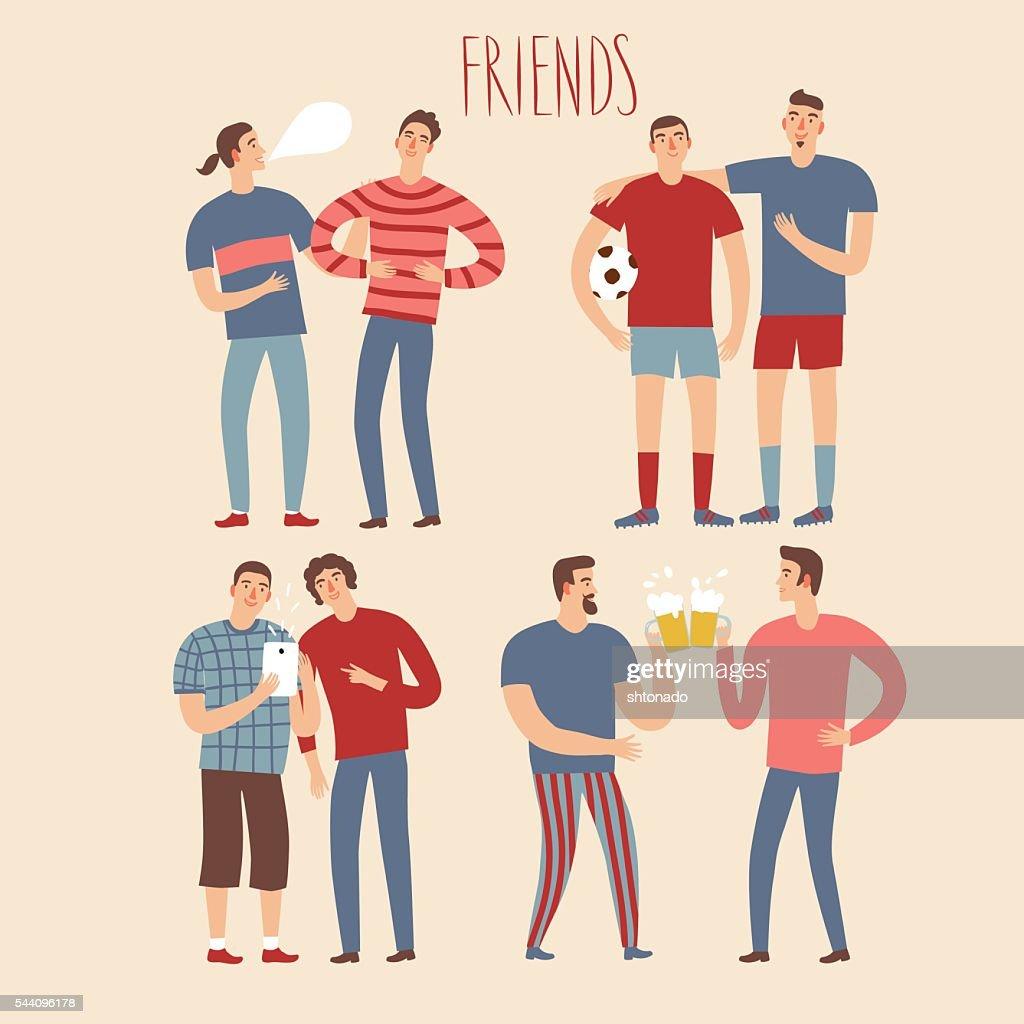 Set of happy cartoon male friends
