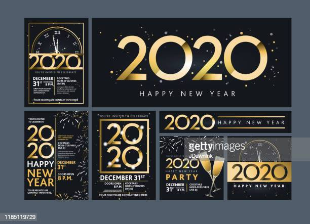 set of happy new year 2020 party invitation design templates in metallic gold with glitter - new year's eve stock illustrations