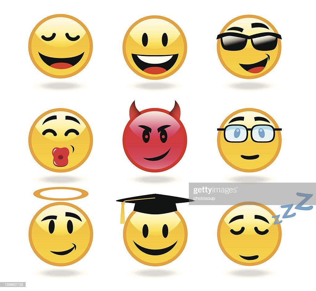 Set of happy smiley emoticons