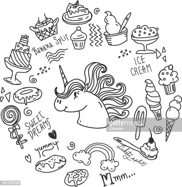 illustrations, cliparts, dessins animés et icônes de ensemble de sweet sugar heureux traite avec licorne - unicorn