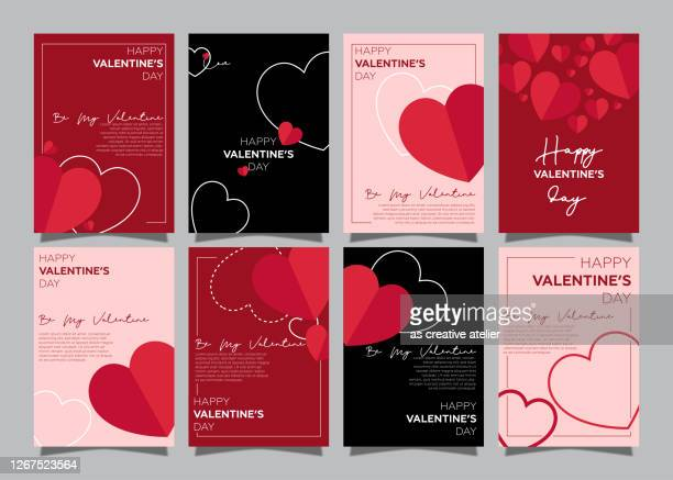 set of happy valentine's day posters - valentine card stock illustrations