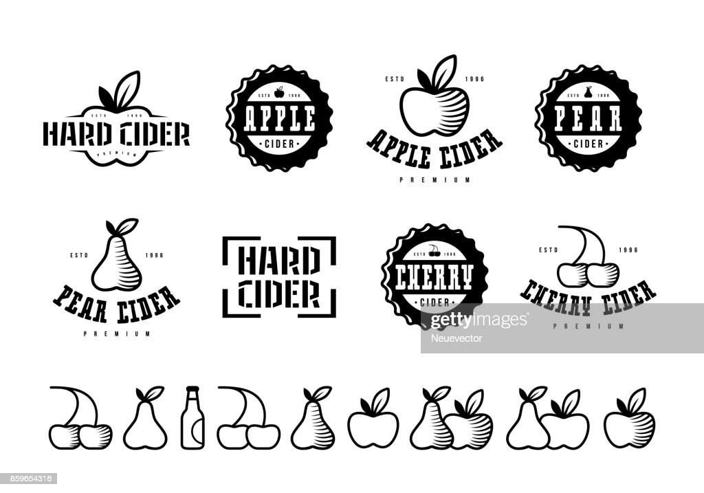 Set of hard cider label and icons