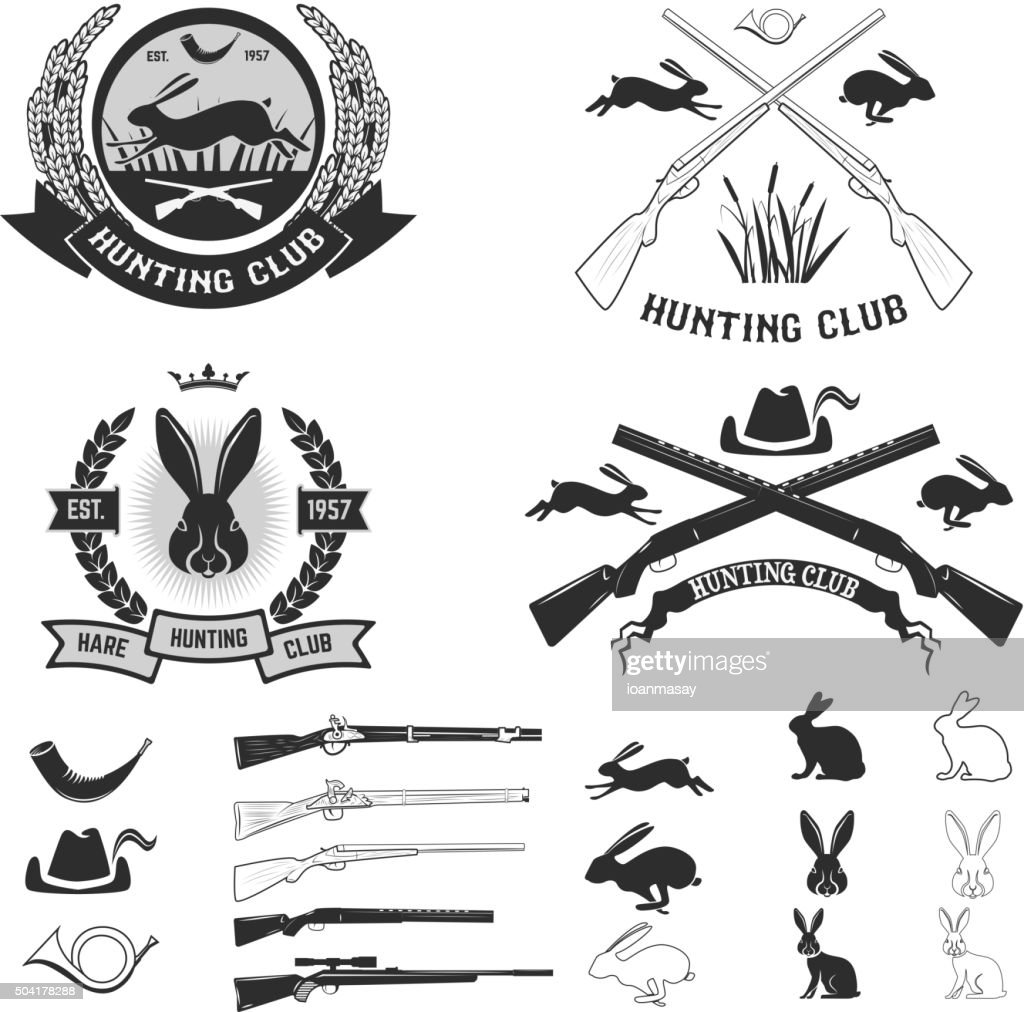 Set of hare hunting club labels.