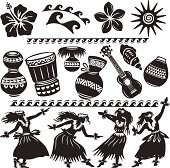 Set of Hawaiian dancers and musical instruments