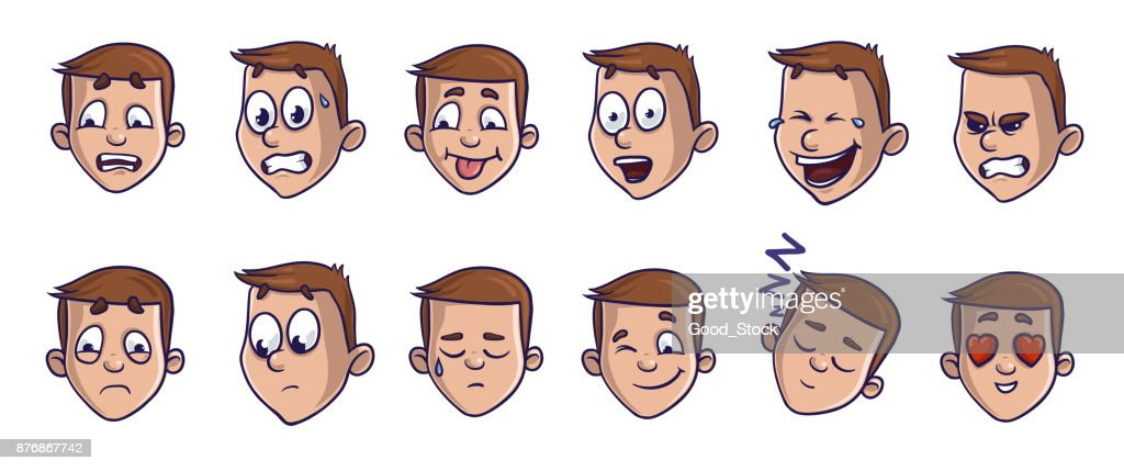 Set of head images with different emotional expressions. Emoji cartoon faces conveying verious feelings. Isolated vector illustration on white background. Comic style.