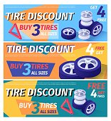 Set of Header Banner Offering Car Tire Discount