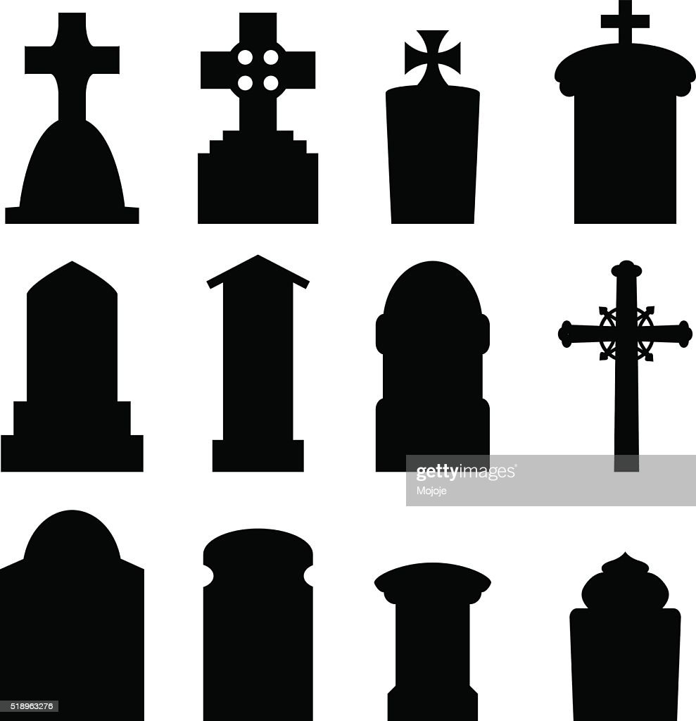 Set of headstone and tombstone in silhouette