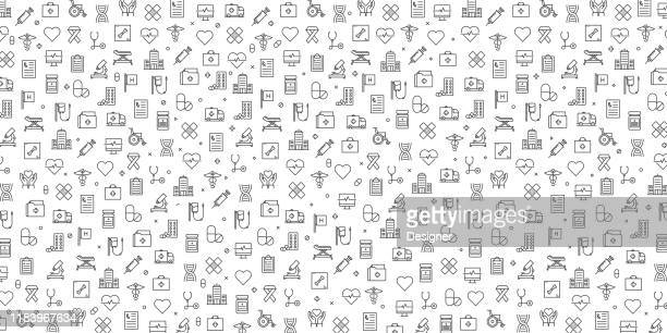 set of healthcare and medical icons vector pattern design - medical exam stock illustrations