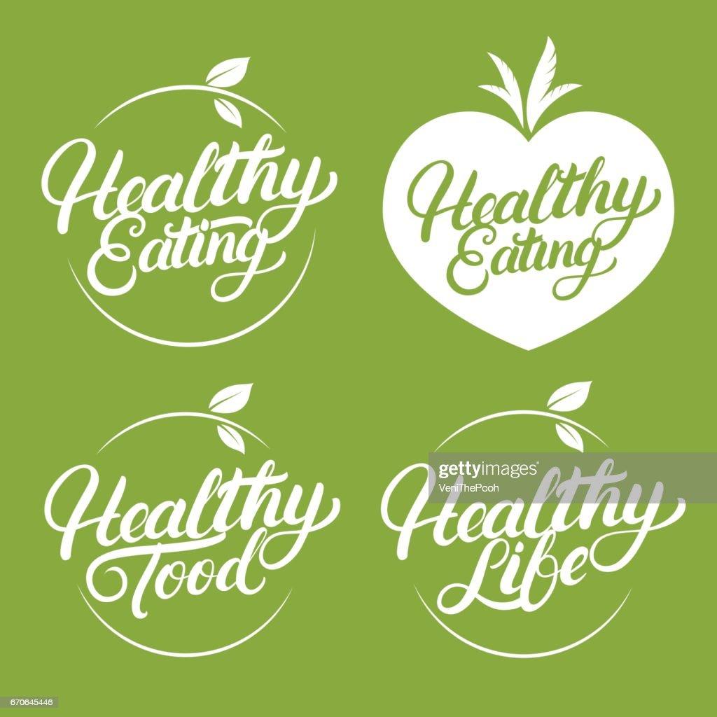 Set of Healthy eating, food, life hand written lettering label, badge, emblem.