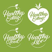Set of Healthy eating, food, life hand written lettering label, badge, emblem.