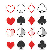 Set of hearts, clubs, spades and dimonds icons, card suit