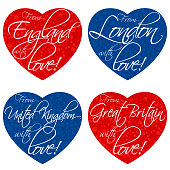 A set of hearts for souvenirs on the theme of the United Kingdom, Great Britain, England, London in the national colors. Vector
