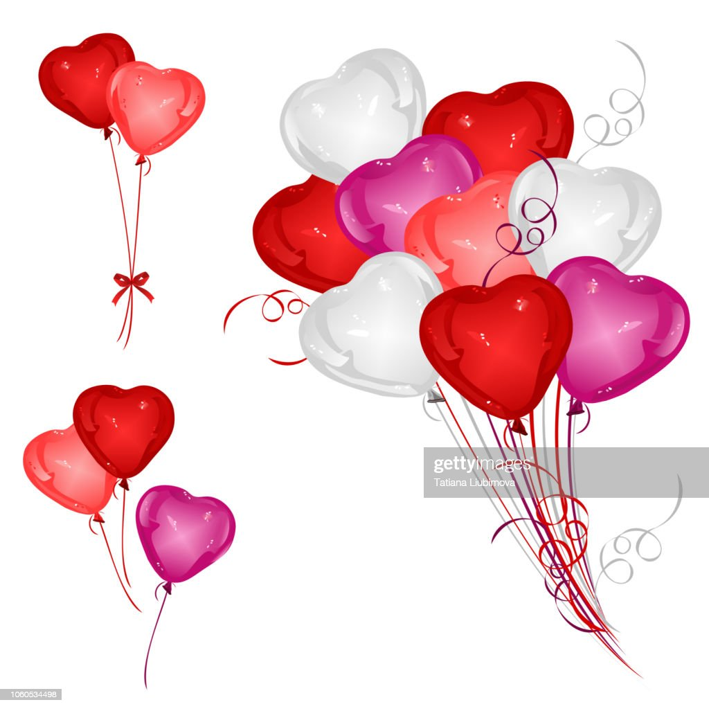 Set of heart-shaped balloons with ribbons, vector illustrations.