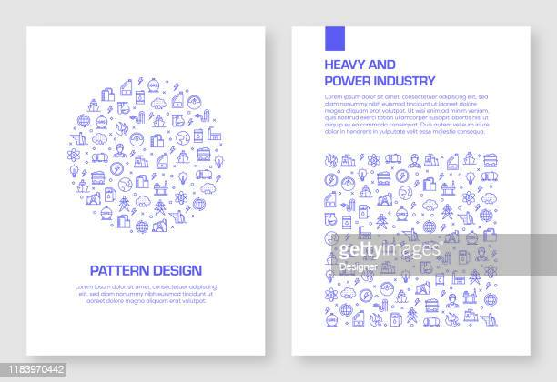 set of heavy and power industry icons vector pattern design for brochure,annual report,book cover. - man made structure stock illustrations