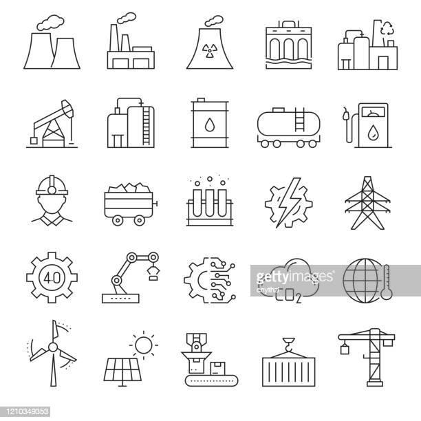 stockillustraties, clipart, cartoons en iconen met set van zware en power industrie gerelateerde line iconen. bewerkbare beroerte. eenvoudige overzichtspictogrammen. - chemische stof