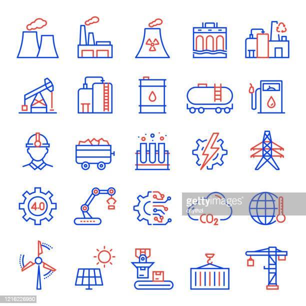ilustrações, clipart, desenhos animados e ícones de conjunto de ícones de linha relacionadas à indústria de energia pesada. curso editável. ícones de contorno simples. - fábrica petroquímica