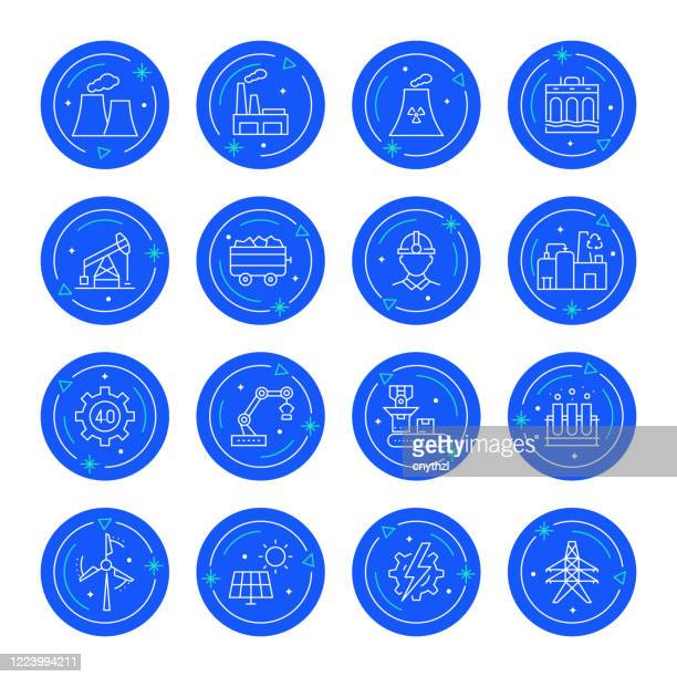 set of heavy and power industry related line icons. editable stroke. simple outline icons. - nuclear energy stock illustrations