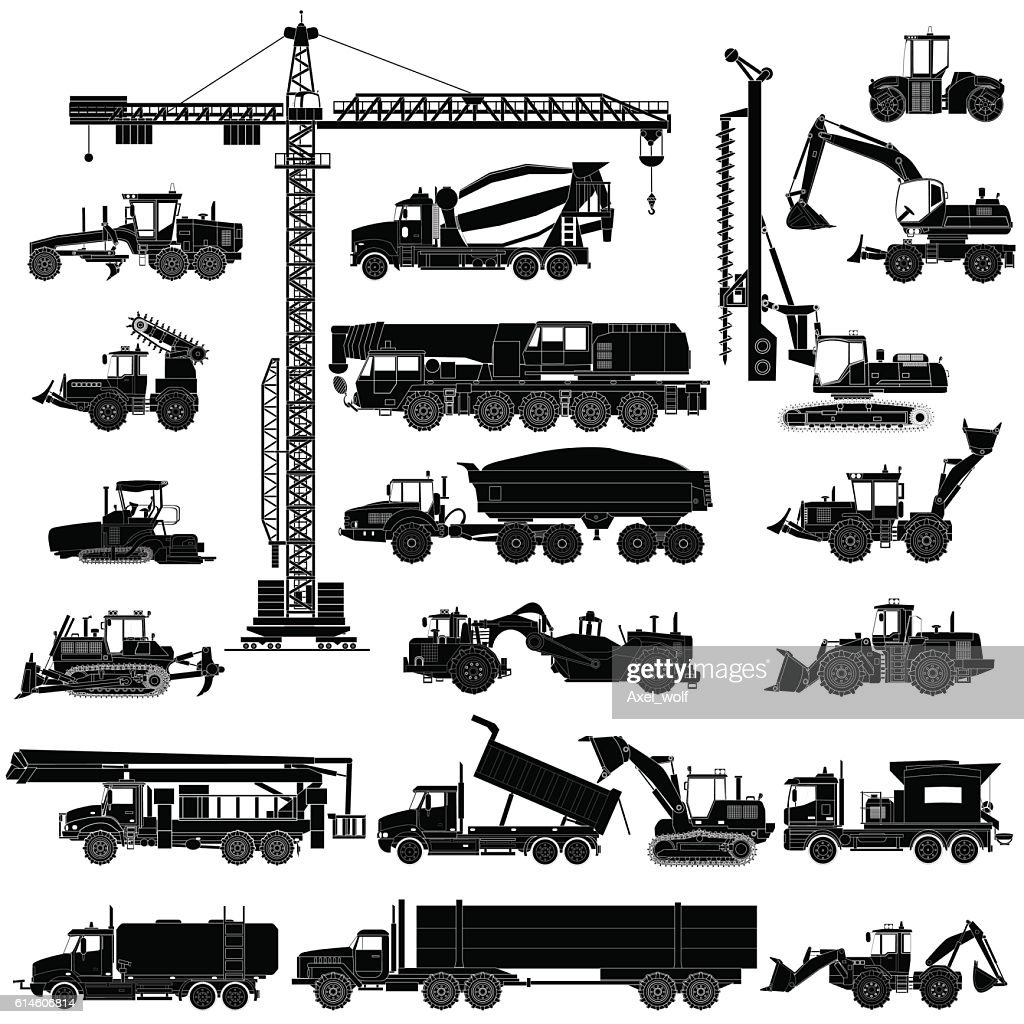 Set of heavy construction machines silhouettes, icons, isolated, vector