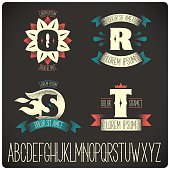 Set of heraldic sign with gothic font