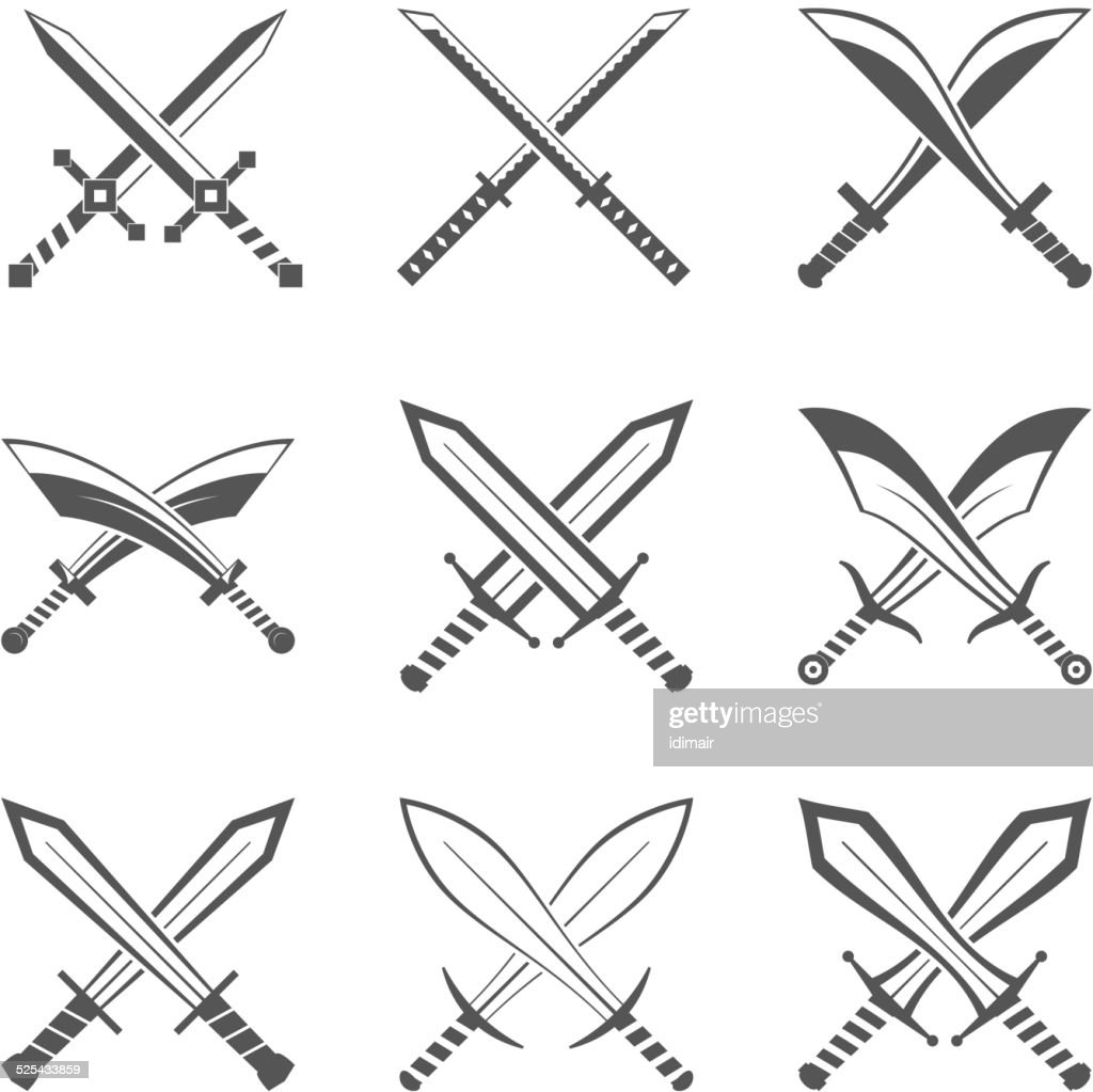 Set of heraldic swords and sabres for heraldry design vector