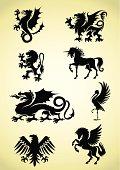 Set of heraldry mythological animals