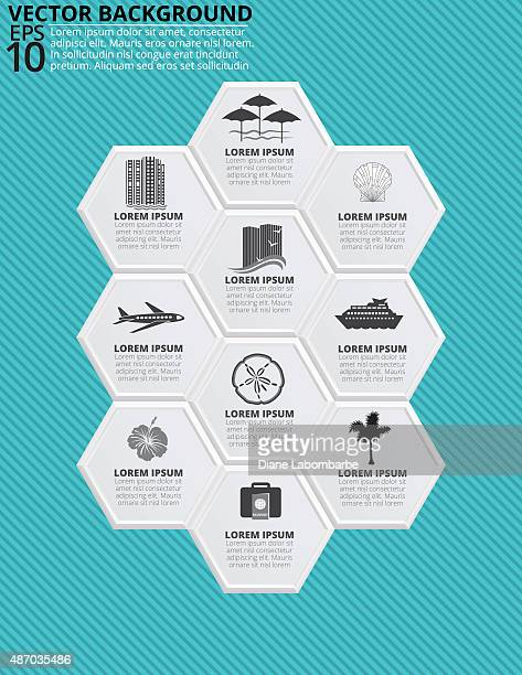 set of hexagon shapes with travel vacation icons - tourist resort stock illustrations, clip art, cartoons, & icons