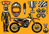 Set of high detailed motocross racing element