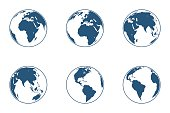 Set of high detailed vector globes. Vector illustration.