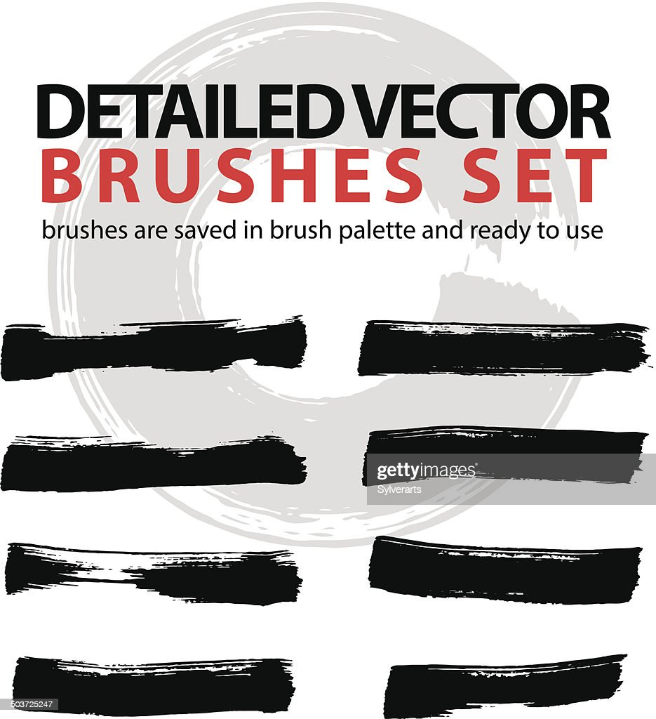 Set of highly detailed vector brush strokes, illustrator palette