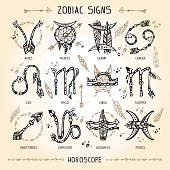 Set of hippie and bohemian style hand drawn zodiac signs
