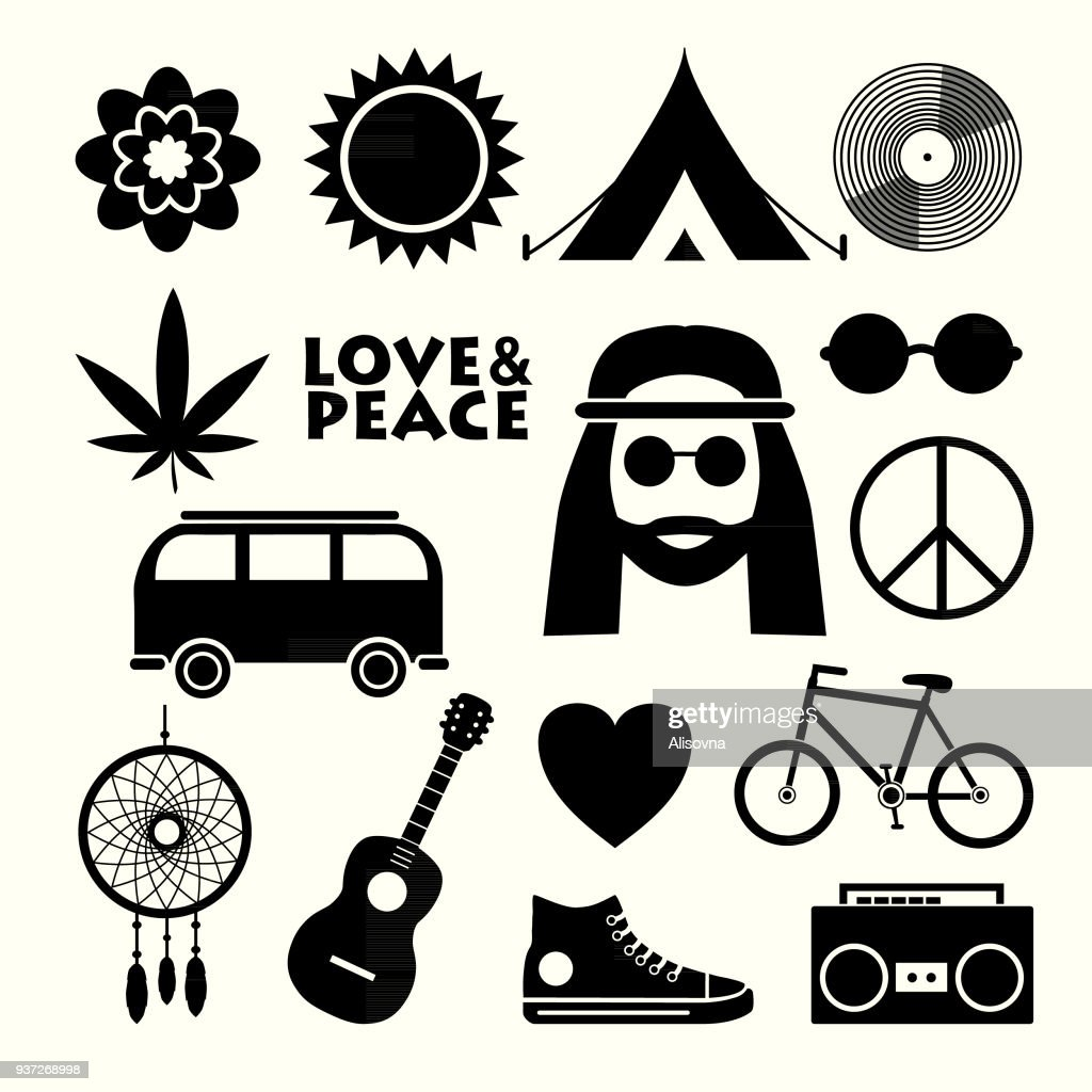 Set of hippie flat icons