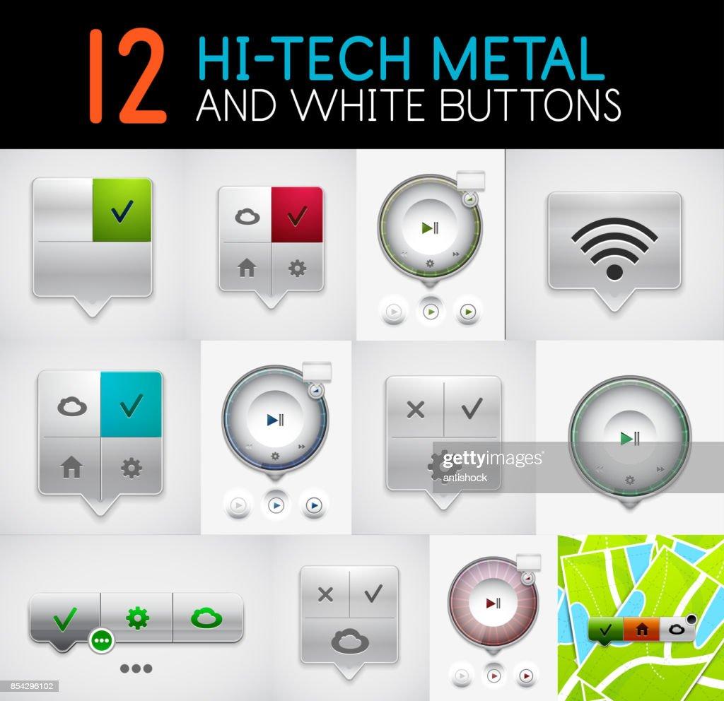 Set of hi-tech round play interface menu and tag ui