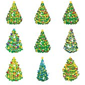 set of holiday decorated christmas tree isolated for celebrate xmass